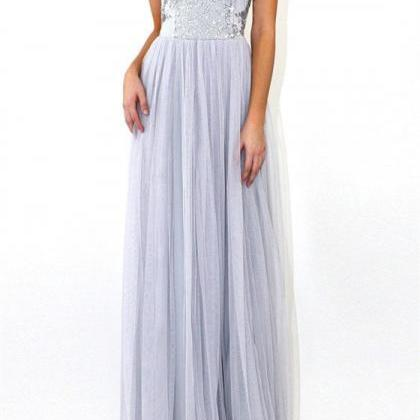 Floor-length Grey Sequins Backless ..