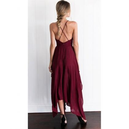 Outlet Ruffles Burgundy Prom Evening Dresses Luscious Long Halter ... be9853238622e