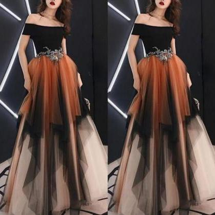 Off Shoulder Tulle A-Line Applique ..