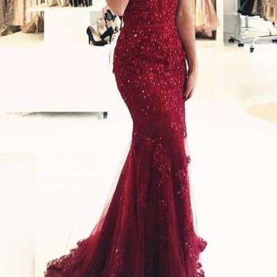 Off Shoulder Dark Red Lace Beaded Evening Mermaid Prom Dresses, Long Sexy Party Prom Dress, Custom Long Prom Dresses, Cheap Formal Prom Dresses