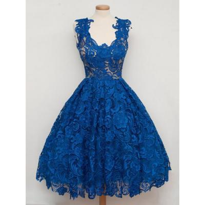 Sleeveless Party Homecoming Dress Short Royal Blue Prom Dresses With Zipper Lace Delightful Dresses