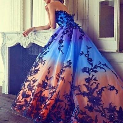 A line prom dress ,ball gown dresses,orange blue charming dress