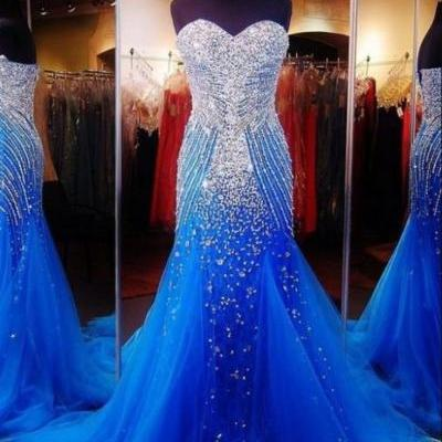 Luxurious Sweetheart Sleeveless Tulle Prom Dress With Beadings Crystals