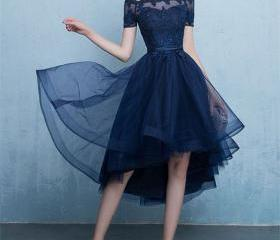Dark blue lace tulle..