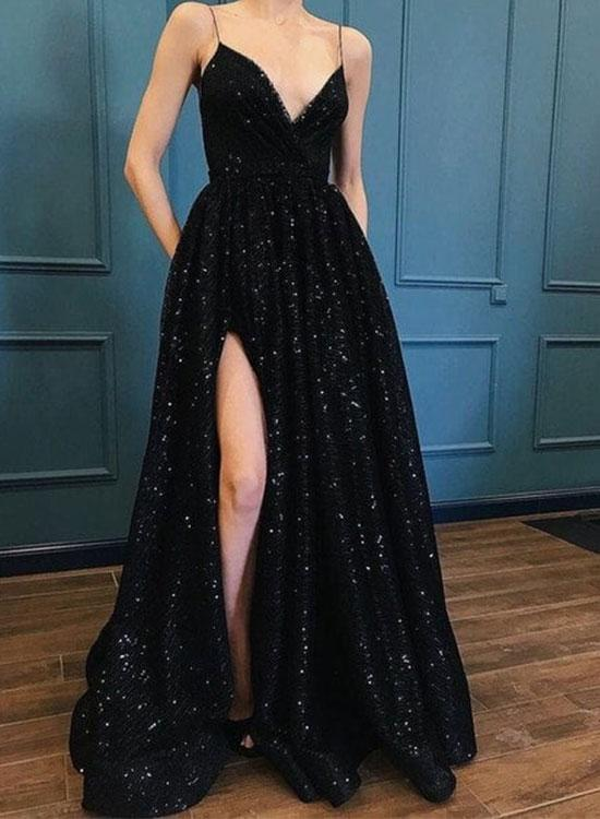 03ef9694bfa7 Hot Sexy A-Line Spaghetti Straps Black Long Prom/Evening Dress with Split  Front