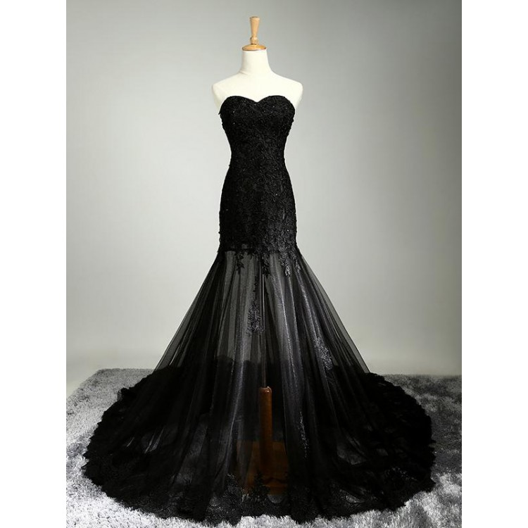 f9e8ac39b9 Sleeveless Dresses Long Black Prom Evening Dresses With Applique Zipper  Sweep Train Admirable Evening Dresses