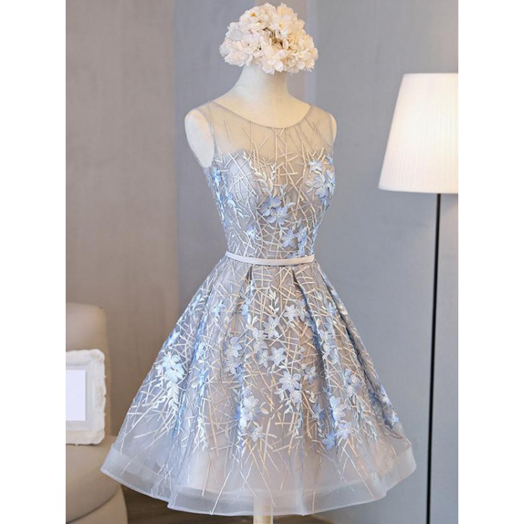 1349a3f773f Homecoming Dress Beautiful Silver Lace Scoop Short Prom Dress Party Dress