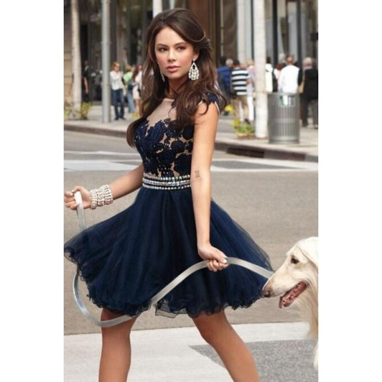 49bf55dc9af Short Navy Blue Lace Homecoming Dress With Appliques Beading