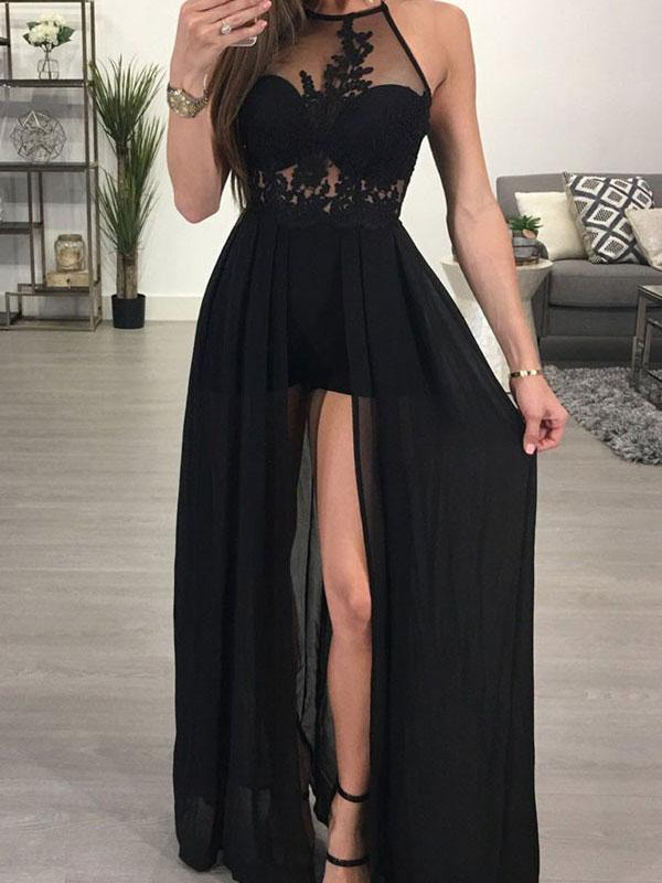 e6c37222f94 A-line Halter See-through Black Chiffon Sexy Long Prom Dresses with Slit