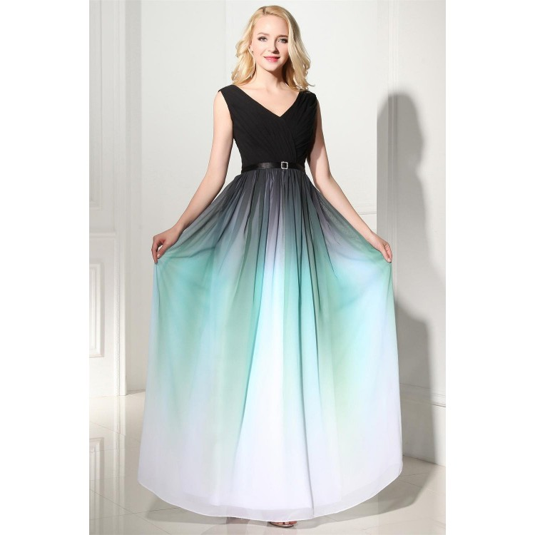 Turquoise Ombre Prom Dresses