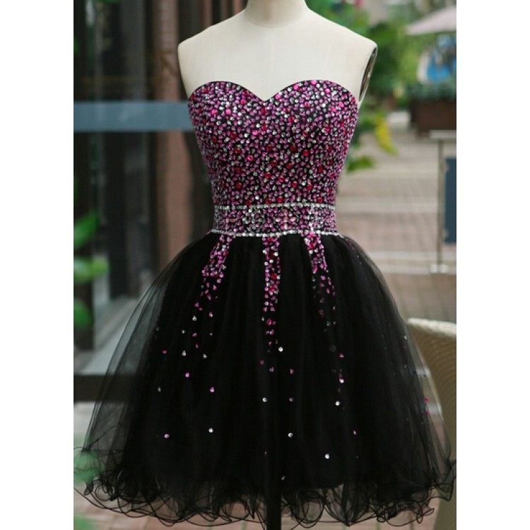 Beading Short/Mini Charming A-Line Short Prom Dresses,Tulle Homecoming Dress Homecoming Dresses