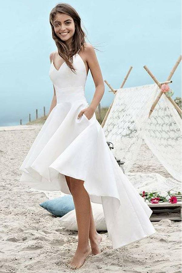 Simple Spaghetti Straps V-neck High Low Short Prom Dress,Beach ...