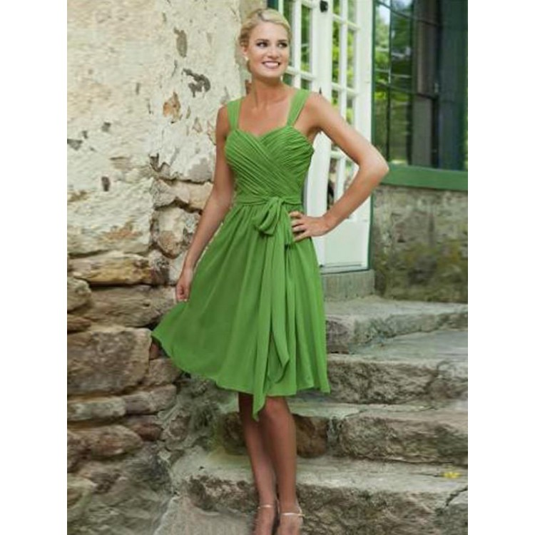 601a04340 Customized Green Sheath Column Prom Dresses Trendy Short Straps Prom Dresses  With Belt Sash Ribbon Backless Dresses