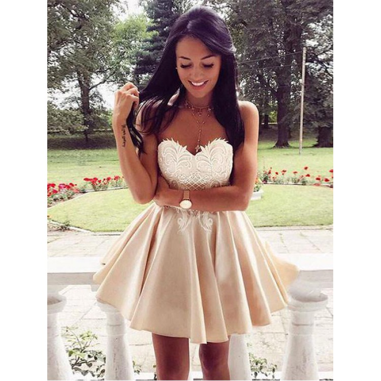 c18eb1b3a91 Hot Sale Mini Prom Homecoming Dress Short Champagne Dresses With Backless  Pleated Sweetheart Suitable Homecoming Dresses