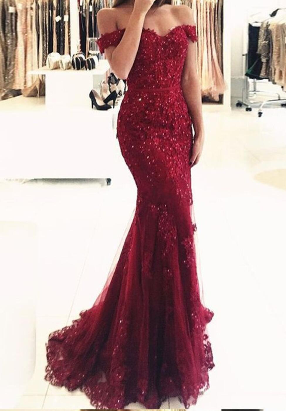 f13a256dd5d7 Off Shoulder Dark Red Lace Beaded Evening Mermaid Prom Dresses