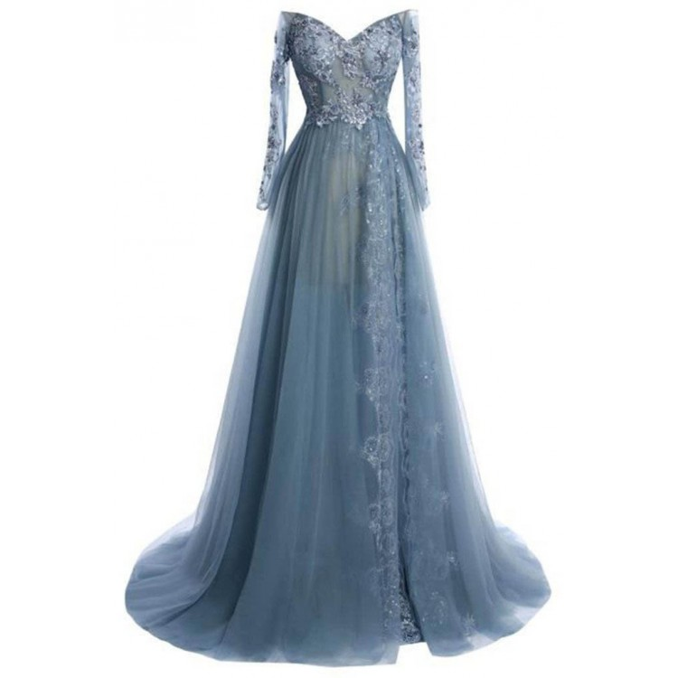 Grey Evening Dresses Long Prom Dresses Long Sleeve Prom Dresses