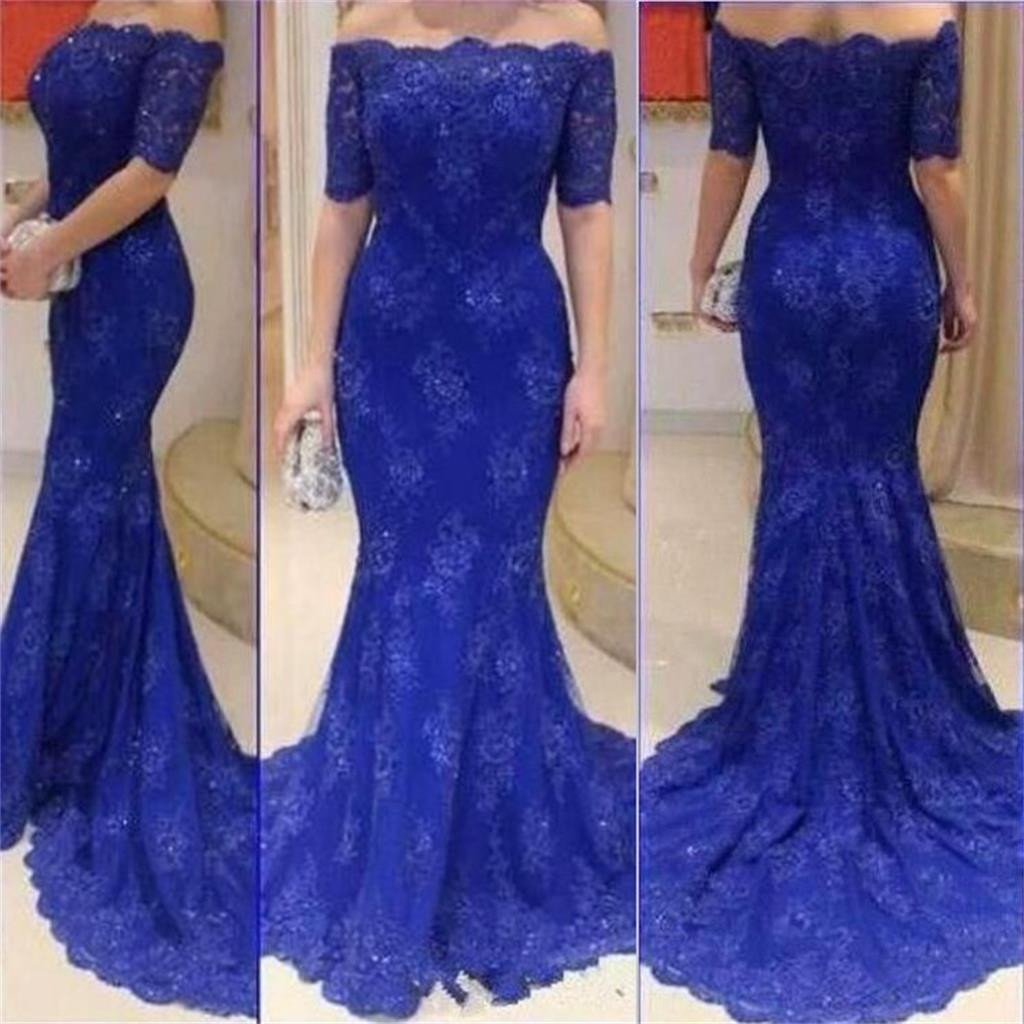 66f122df1ddc Long Royal Blue Short Sleeves Off Shoulder Mermaid Lace Sexy Formal Evening  Prom Dress