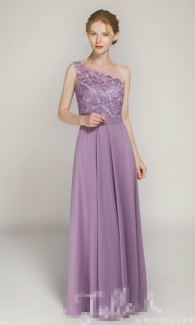 Long One Shoulder Lace Bridesmaid Dress With Chiffon Dress