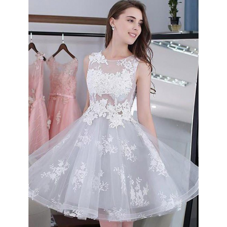9ddf09fa5700 Hot Sale Mini Homecoming Prom Dress Short Silver Dresses With Lace Up  Applique Round Luscious Homecoming Dresses