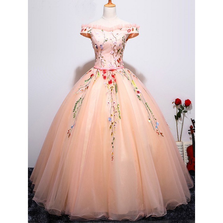 Pink Evening Dresses Long Beautiful Prom Ball Gown Off The Shoulder Chic Dress
