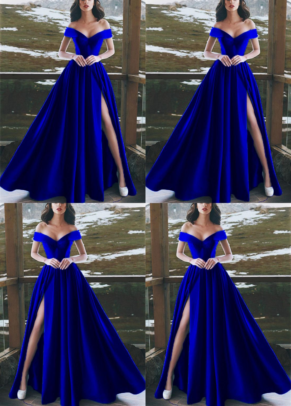 06e6a2ade3d Elegant V-neck Off The Shoulder Long Satin Royal Blue Prom Dresses ...
