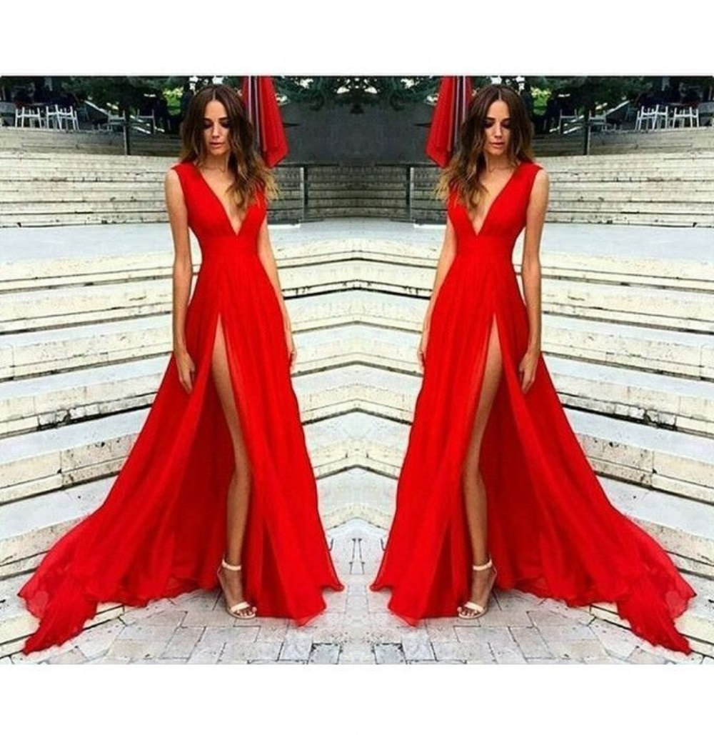 75cbf45309 Sexy Slit Evening Dress,V-neckline Red Evening Gowns,Split Prom Dresses,Slit  Sexy Party Dresses.Red Formal Dress,Red Prom Dress