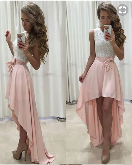 3b53dc97a95 Sleeveless Lace Chiffon Straps A-line Hi-Lo Newest Prom Dress cheap prom  dress