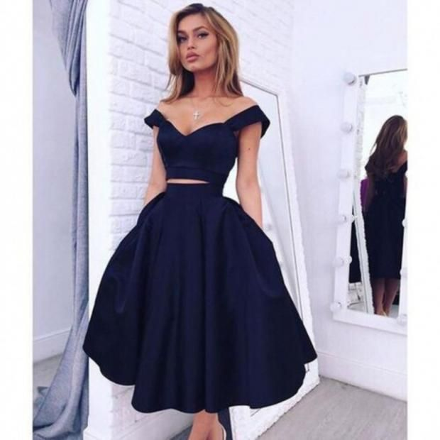 38042cbcdac7 Unique Black High Low Prom Dress Lace With Off Shoulder For Teens  Customized Substantial Blue Prom Dresses Chic Off The Shoulder Navy Blue  Homecoming ...