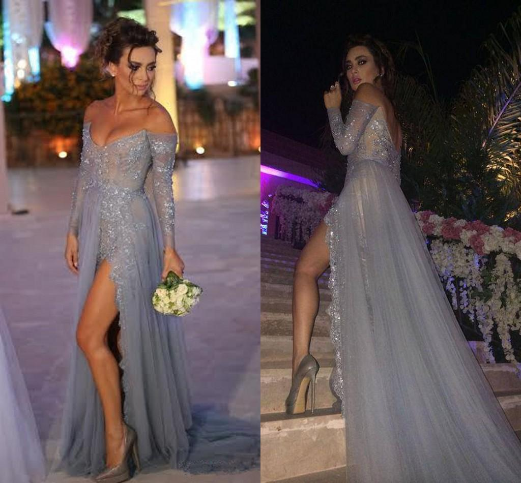 a452a67c48d Long Sleeve Lace Sequin Prom Dress