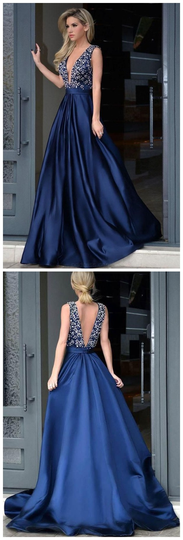 Custom Made Fetching Long Prom Dress V-neck Royal Blue Satin Beading Prom  Dresses With e458454b2