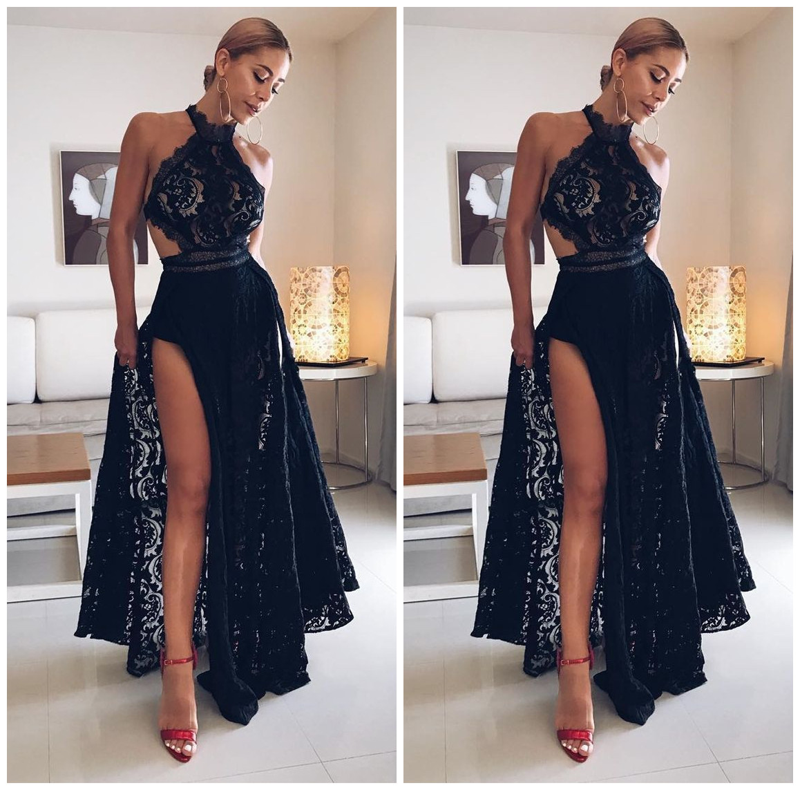 c6e710c5d5 Sexy Black High Slit Lace Halter Evening Party Prom Dresses,Backless Lace  Floor Length Prom Dresses