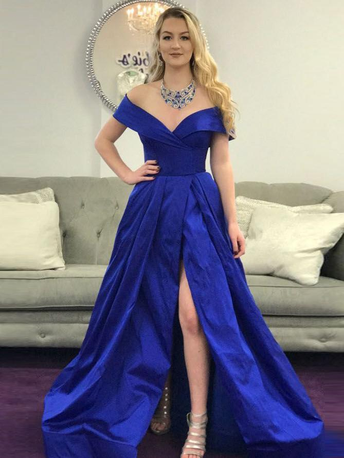 Royal Blue Prom Dress, A-line Off-the-shoulder