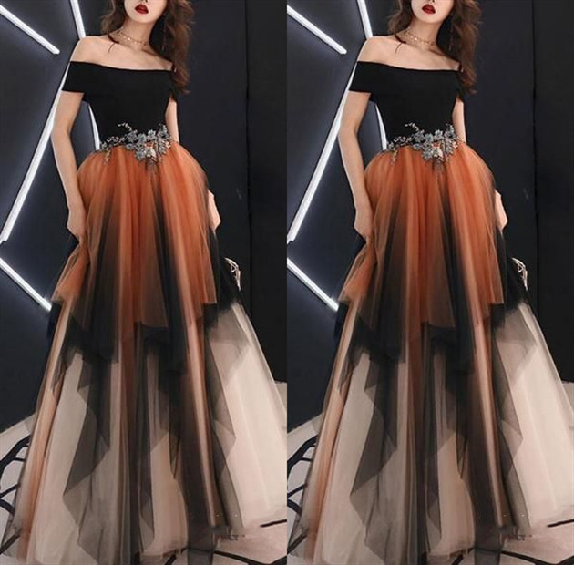 Off Shoulder Tulle A-Line Applique Long Prom Dresses