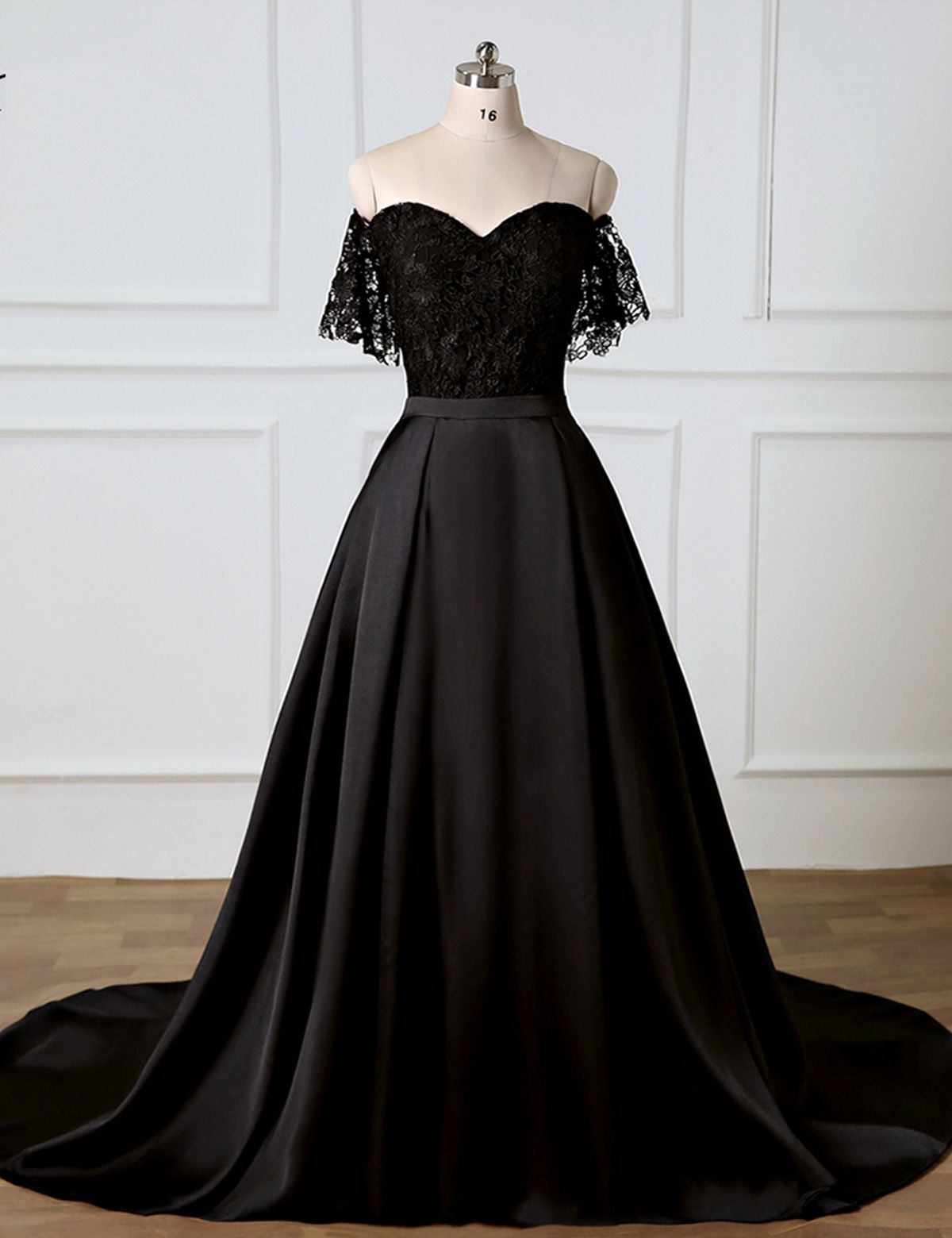 20e3a3409a0 Sweetheart Black Lace Off Shoulder Long Prom Dress With Removable Skirt  from Sweetheart Dress