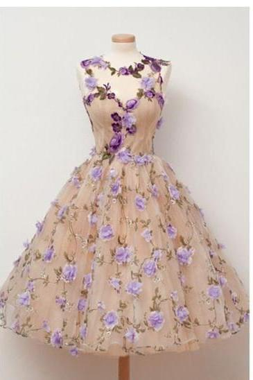 Charming Handmade flowers, Unique Princess Dress, Sleeveless Homecoming Dress