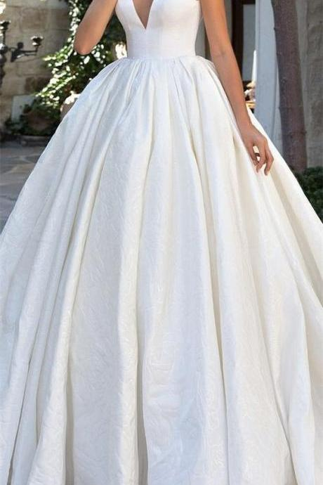 Simple Plunging V Sleeveless Satin Ball Gown Wedding Dress
