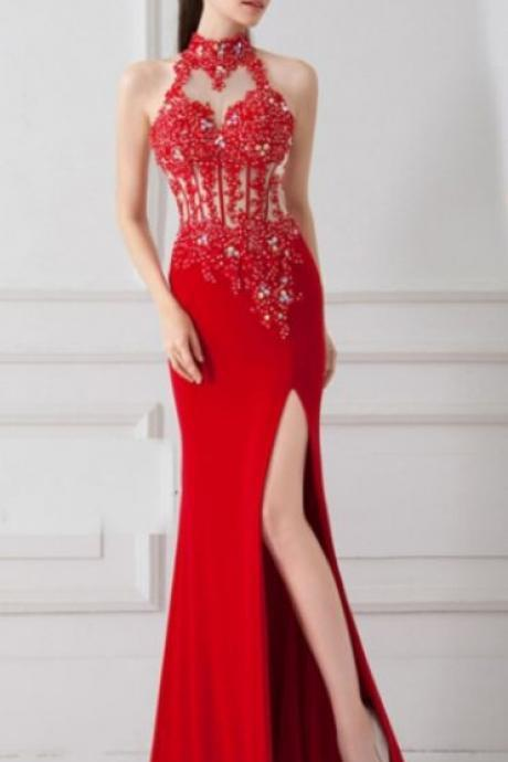 Sale Nice Long Mermaid/Trumpet Prom Dresses, Red Sleeveless With Split-front Split Prom Dresses
