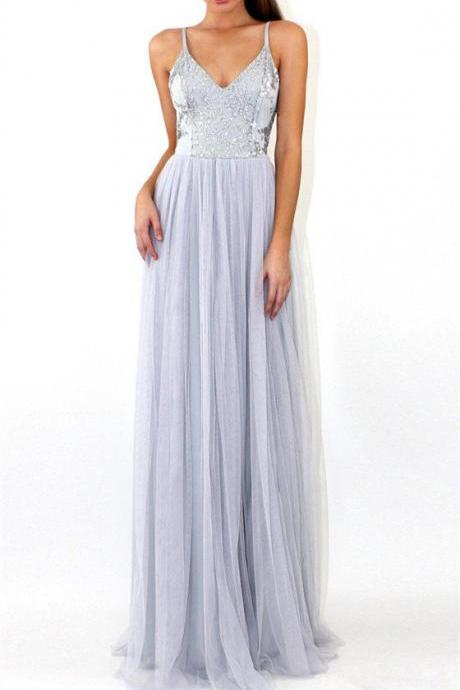 Floor-length Grey Sequins Backless Deep V-neck Spaghetti Strap Evening Dress, Prom Dress