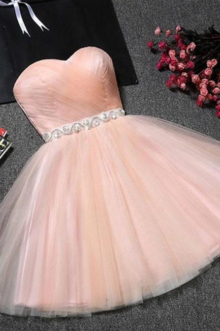 Cute A-Line Sweetheart Pink Tulle Short Homecoming Dress with Beading