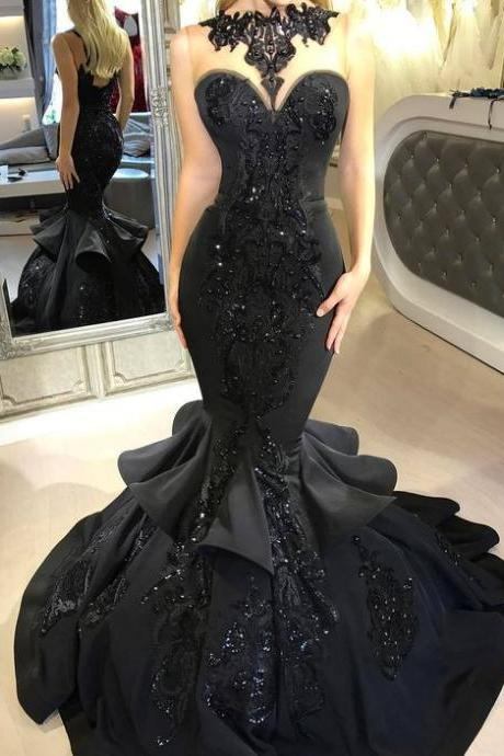 Stunning Black Long Evening Dresses Sexy Beaded Appliqued Cascading Ruffled Mermaid Court Train Backless Formal Party Prom Gowns