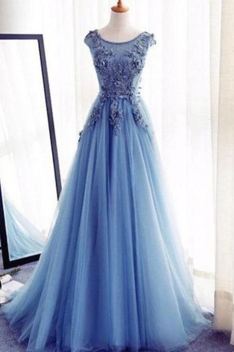 Sleeveless Prom Evening Dress Long Blue Evening Dresses With Tulle Lace Up Lace Engrossing Dresses