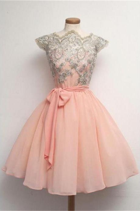 Absorbing Pink Homecoming Dresses, Short Homecoming Dresses, Cap Sleeve Homecoming Dresses, Lace Homecoming Dresses, Mini Homecoming Dresses