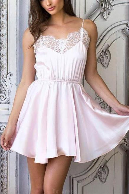 Lace Short Light Pink Chiffon Homecoming Dresses Short Prom Dress