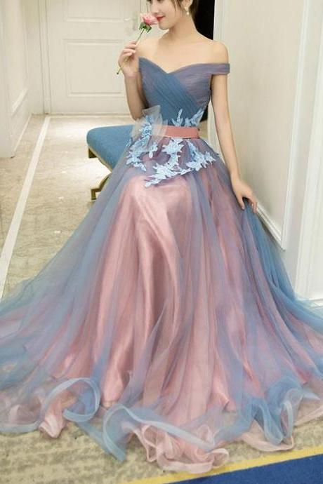 Newest Floor-length Two Piece lace Appliques evening dresses, Printed Round Neck long prom dresses