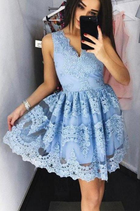 Cute Blue Lace Short Prom Dress Blue Lace Homecoming Dress