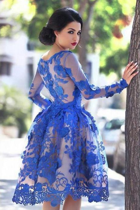 Customized Long Sleeve Dresses Short Royal Blue Homecoming Prom Dresses With Applique Side Zipper Knee-length Fine Homecoming Dresses