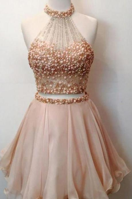 Halter Party Dresses, Pink Short Homecoming Dresses, 2018 Homecoming Dress Two Pieces Sexy Short Prom Dress Party Dress