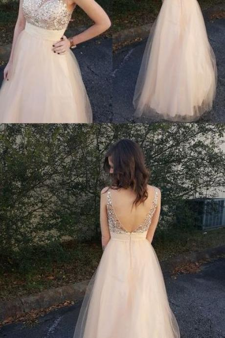 Sexy Champagne Prom Dress, Tulle Long Party Dress, V back Evening Dress