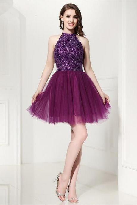 Sexy Purple Short Prom Dresses 2018 Vestidos De Formatura Curto Beading High Neck Formal Party Dress Cocktail Gowns