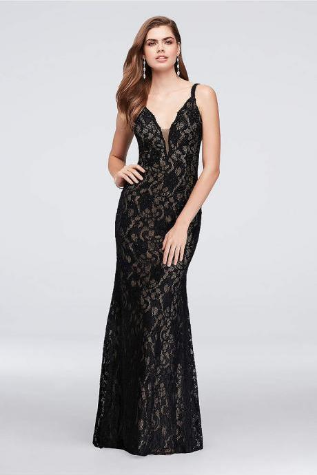 Crystal Lace Mermaid Dress with Deep V-Back